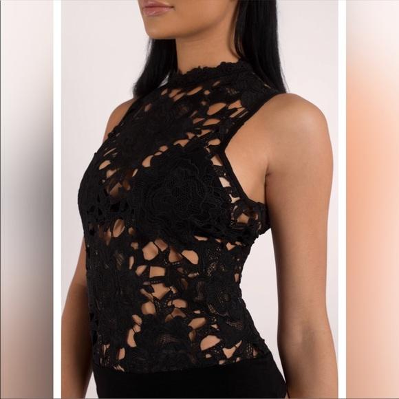 134cc19c38f0 Black lace crochet high neck tank bodysuit. M_5b731de3cdc7f77639a70e56